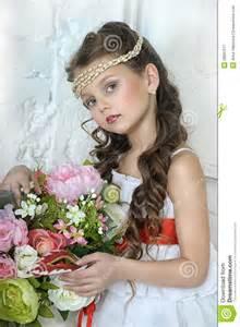 Summer Garden Wedding Dresses - portrait of little with flowers stock image image 28097511