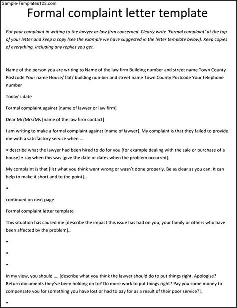 Complaint Letter Template Shopping Complaint Letter Format Against Employee Sle Templates