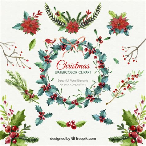 natale clipart gratis floral elements vector free
