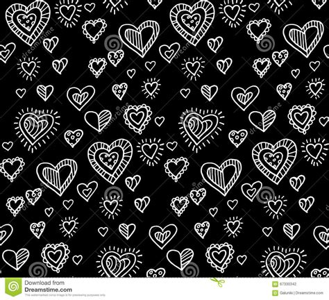 black heart pattern black and white heart seamless pattern stock vector