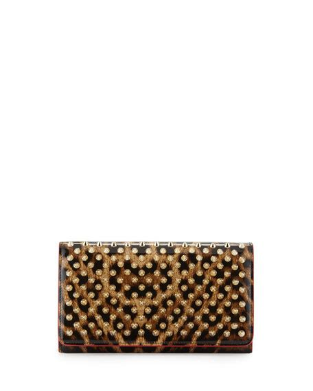 christian louboutin macaron spiked patent wallet leopard brown golden neiman