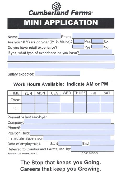 Gas Station Application Pdf Cumberland Farms Application Form Fillable