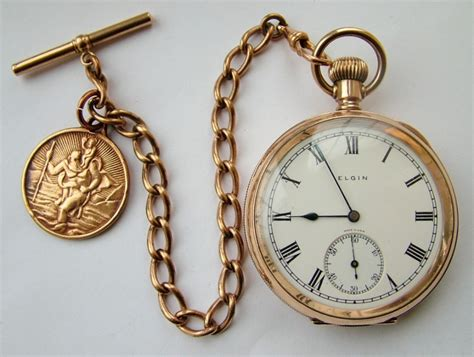 vintage 1926 elgin pocket with chain 304095