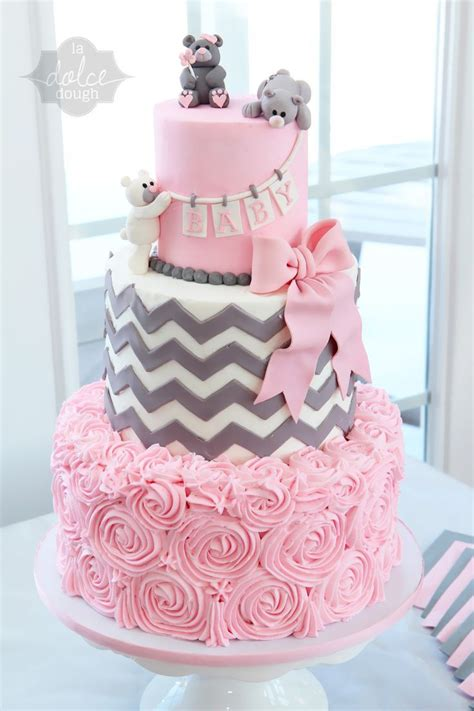 Pink And Grey Chevron Baby Shower Decorations by 1000 Ideas About Baby Shower Cakes On