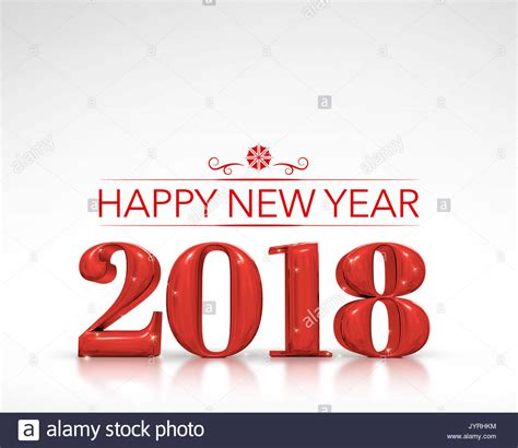new year 2018 number 2018 happy new year number 3d rendering on white