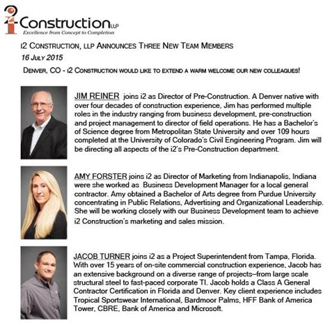 New Employee Announcement by July 2015 New Team Members I2 Construction Llp I2 Construction Llp