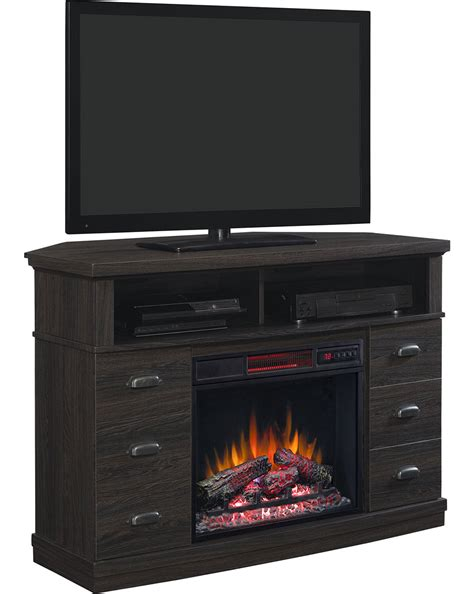 raymer infrared electric fireplace media console in black