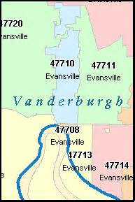 Evansville Zip Code Map by Vanderburgh County Indiana Digital Zip Code Map