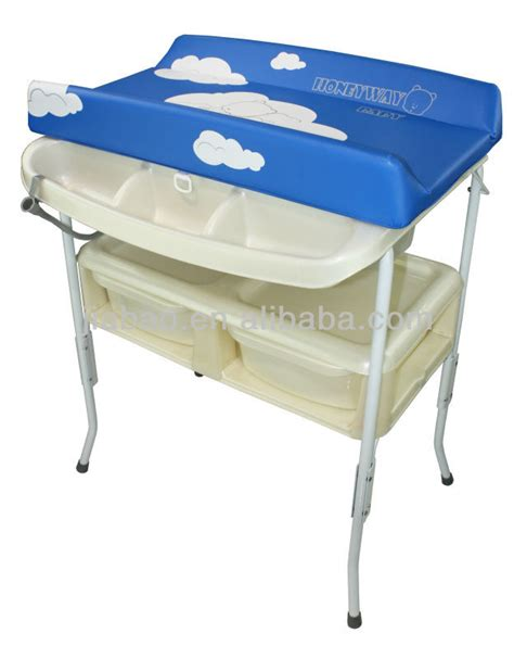 Free Standing Baby Changing Table Removable Baby Bath Stand With Bath Tub And Sofe Changing