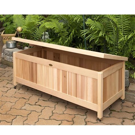 outdoor cedar storage box great for toys gardening