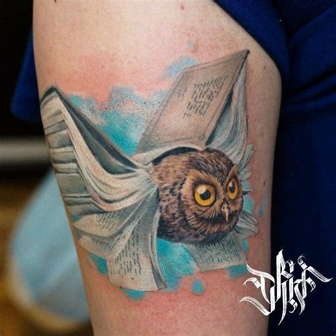 tattoo owl books book owl for book worms by evgeny chivikov take it