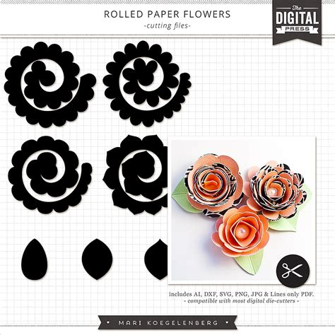 rolled paper flower pattern custom card template 187 printable note cards template