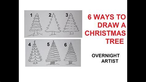 draw christmas trees  easy ways  draw xmas tree youtube