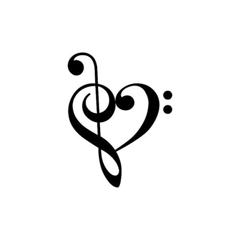 treble bass clef heart