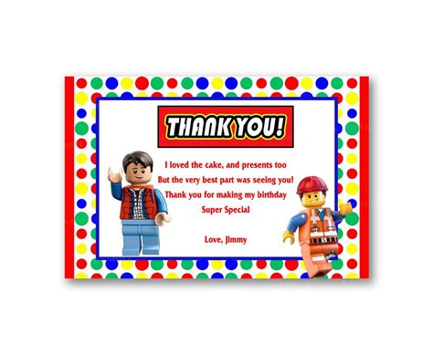 lego thank you card template colorful rainbow lego thank you card from uinvites
