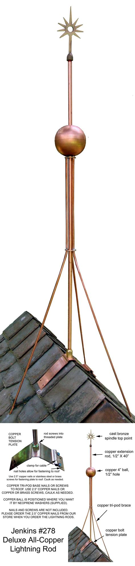 Slate Roof Warehouse #278 Deluxe Copper Lightning Rod Assembly SLATE ROOF WAREHOUSE