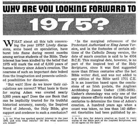 8 Great Magazines To Keep You Up To Date by 1975 Watchtower Quotes To Show What Really Was Predicted