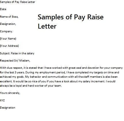 sample pay raise letter