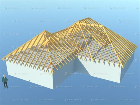 Complex Hip Roof 3d Truss Models Sketchucation 7