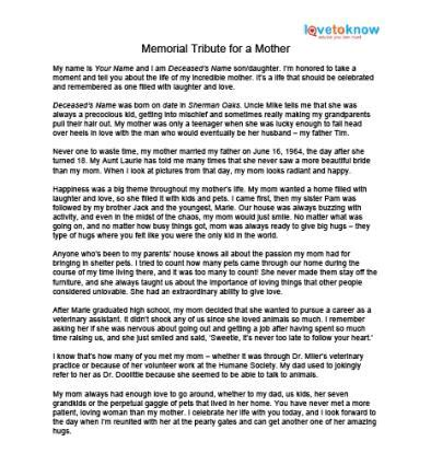 Memorial Tributes To Mothers Lovetoknow Tribute Templates For A Funeral
