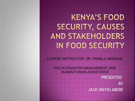 Doctorate In Security by Kenya S Food Security Causes And Stakeholders In Food