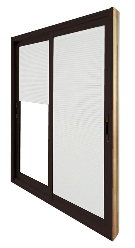 5 Ft Patio Sliding Doors Stanley Doors Sliding Patio Door Mini Blinds 5 Ft 60 In X 80 In Brown