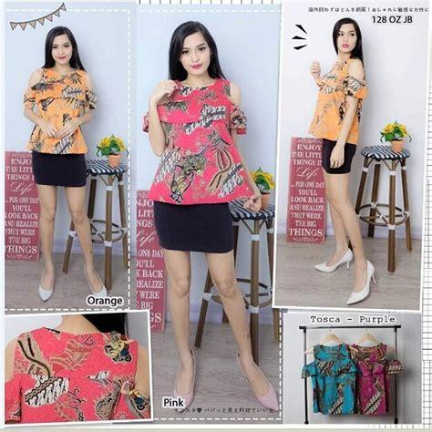 Blouse Evo Atasan Baju Wanita jual atasan batik wanita blouse batik modren baju batik model sabrina onix sabrina di