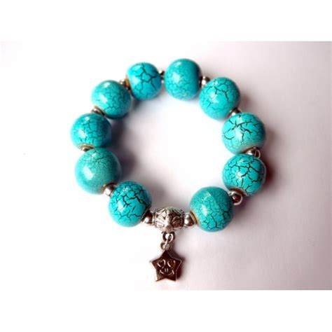 Steunk Vire Bracelet Turquoise Gelang wood cracked painting turquoise