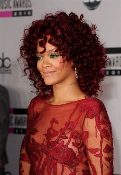 bright hair color for curly hair rihanna red curly hairstyle for black women hairstyles