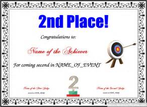 Place Certificate Template by 2nd Place Free Certificate Templates For Sport And