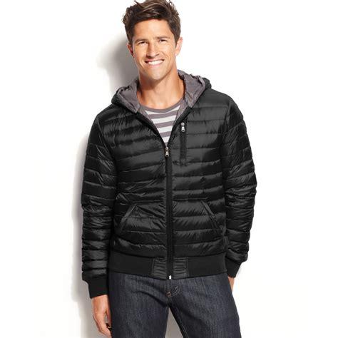 light packable down jacket lyst calvin klein hooded packable down jacket in black