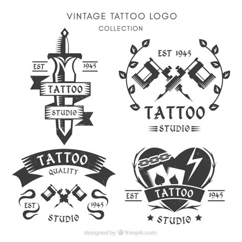 logo tattoo estudio set of logos for tattoo studios vector free download