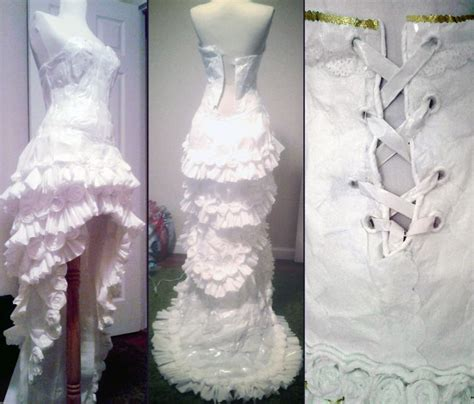 How To Make Toilet Paper Dress - wedding dress made out of toilet paper 6 pics