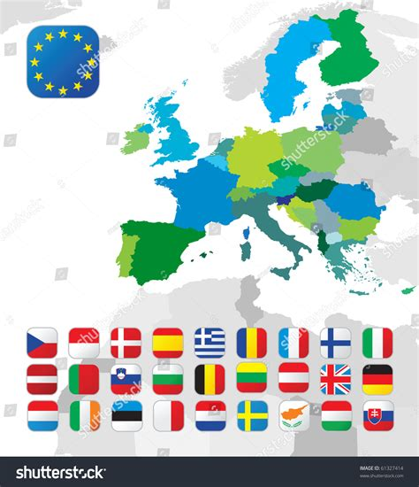 map of all the countries in europe european union map all eu countries stock vector 61327414
