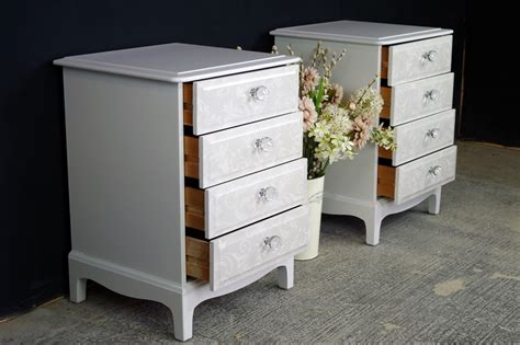 4 Drawer Bedside Table by Pair Of Stag 4 Drawer Bedside Tables Painted Vintage