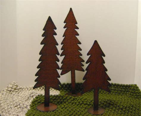 trees set of 3 metal trees large shelf trees by