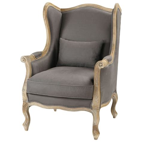 linen wing armchair in grey taupe manoir maisons du monde
