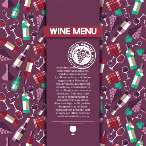 menu card templates vector free wine menu card template vector free