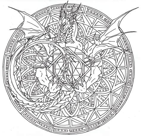 intricate fantasy coloring pages dragon mandala 2 by airegon on deviantart