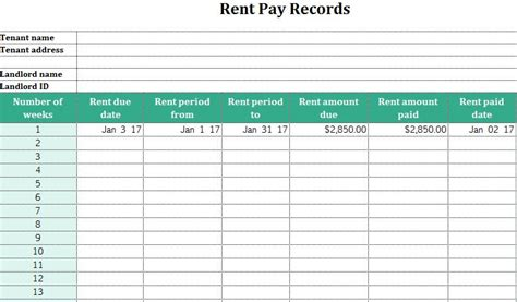rent receipt ledger template rent ledger excel spreadsheet template