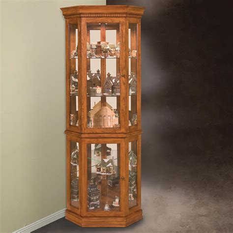 curio cabinet philip reinisch company 45951 lighthouse collection classic oak corner curio cabinet atg stores