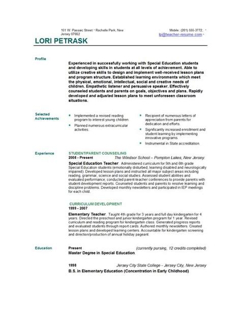 Resume Exles For New Teachers Resume Templates Easyjob