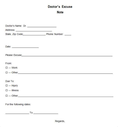 doctor excuse template 9 free word excel pdf format