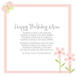happy birthday mom card beautiful poem by george cooper