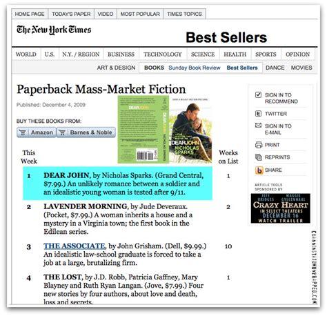 new york times best books 2009 news flash channing tatum s dear john novel 1 on new