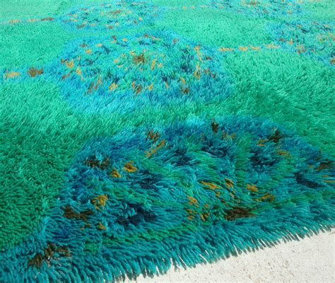 Blue Green Mod Rya Shag Rug Omero Home Blue And Green Area Rugs