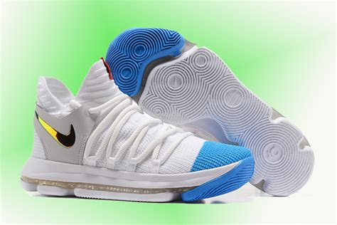 newest sale nike kd 10 white blue gold men s basketball