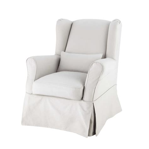 armchair cover cotton armchair cover in light grey cottage maisons du monde