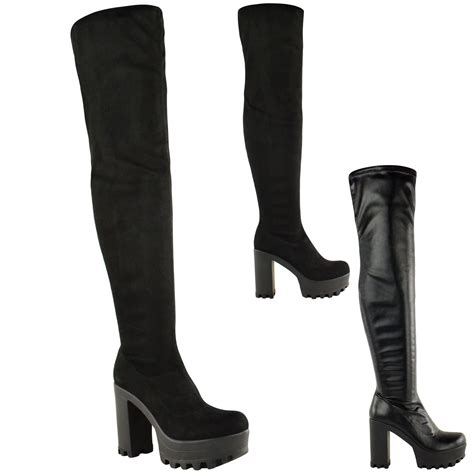 knee high chunky heel boots womens the knee thigh high chunky platform