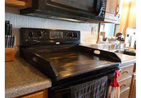 Distressed Black Stove Top Cover   aftcra